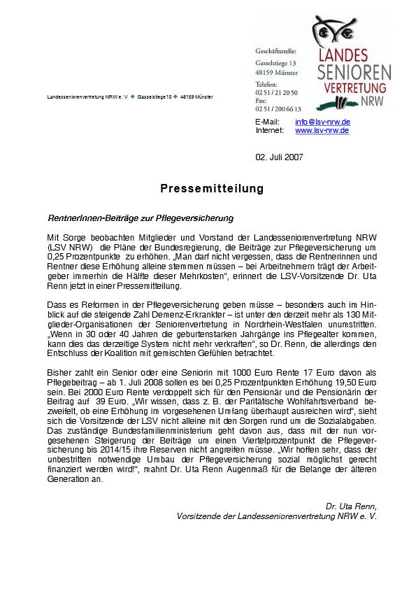 2007 PM Beitraege Zur Pflegeversicherung Pdf Image