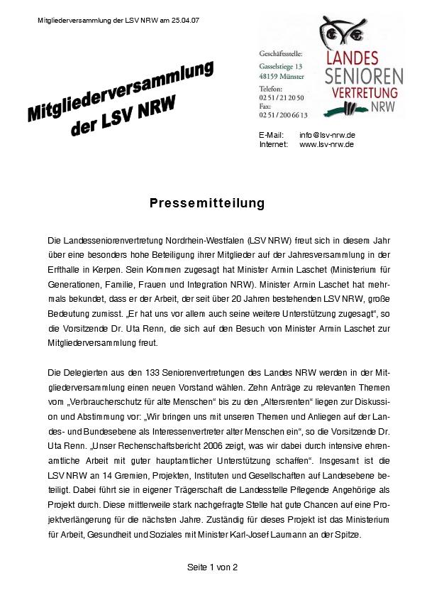 2007 PM Mitgliederversammlung Der LSV NRW Pdf Image