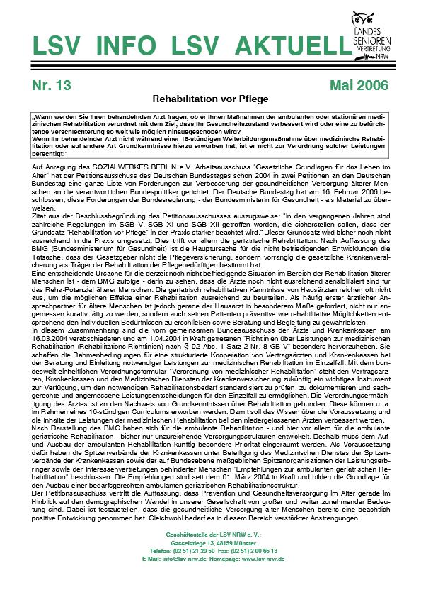 INFO LSV AKTUELL Nr  13 Rehabilation Vor Pflege Pdf Image