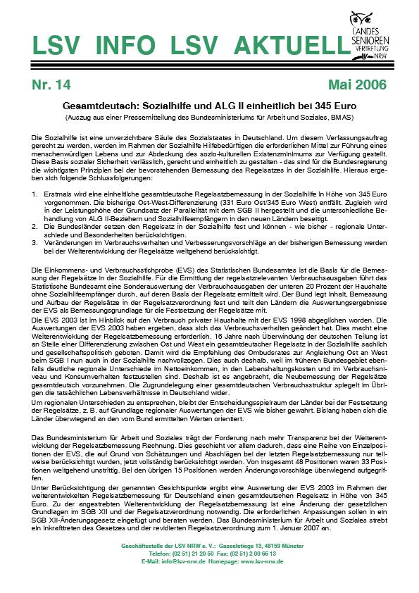 INFO LSV AKTUELL Nr  14 Sozialhilfe Und ALG II Einheitlich Bei 345 Euro Pdf Image