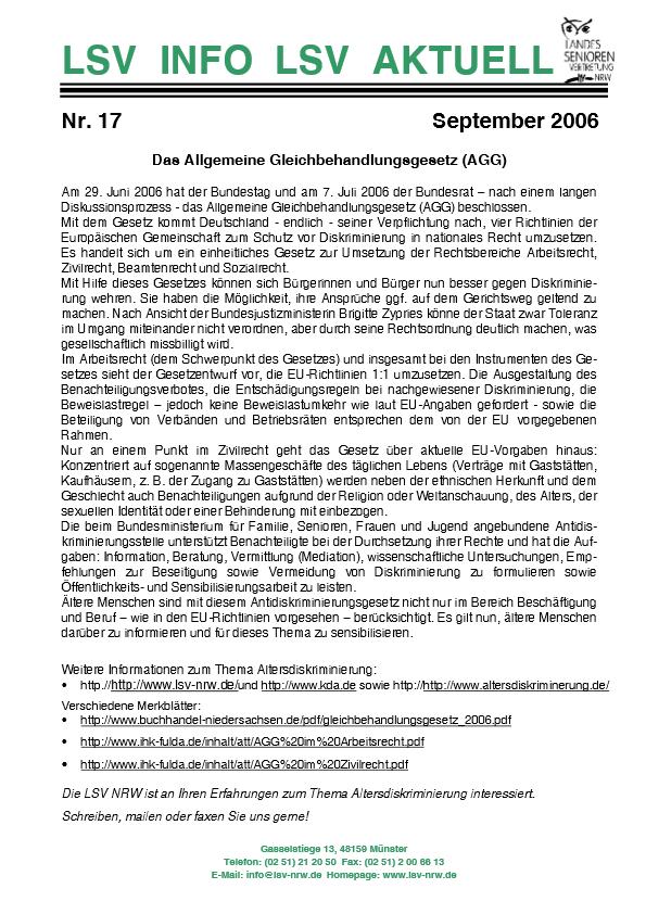 INFO LSV AKTUELL Nr  17 Allgemeine Gleichbehandlungsgesetz Pdf Image