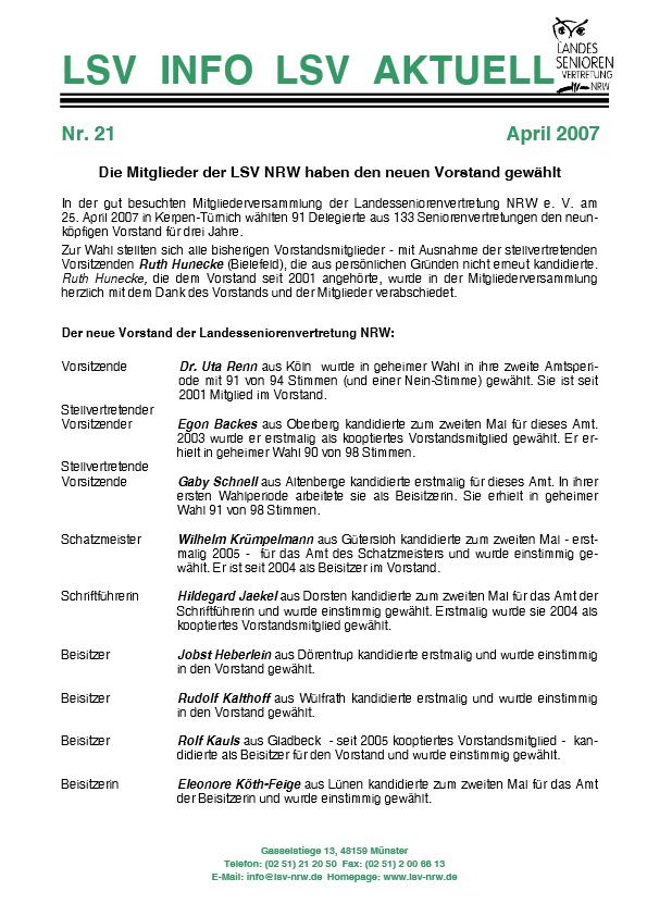 INFO LSV AKTUELL Nr  21 Neuer Vorstand Pdf Image
