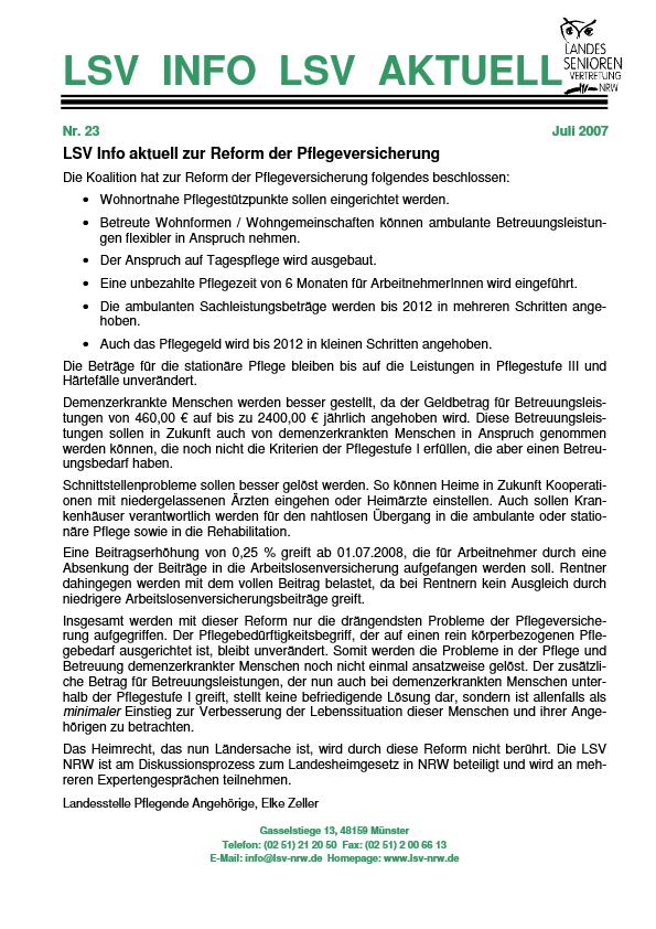 INFO LSV AKTUELL Nr  23 Pflegereform Pdf Image