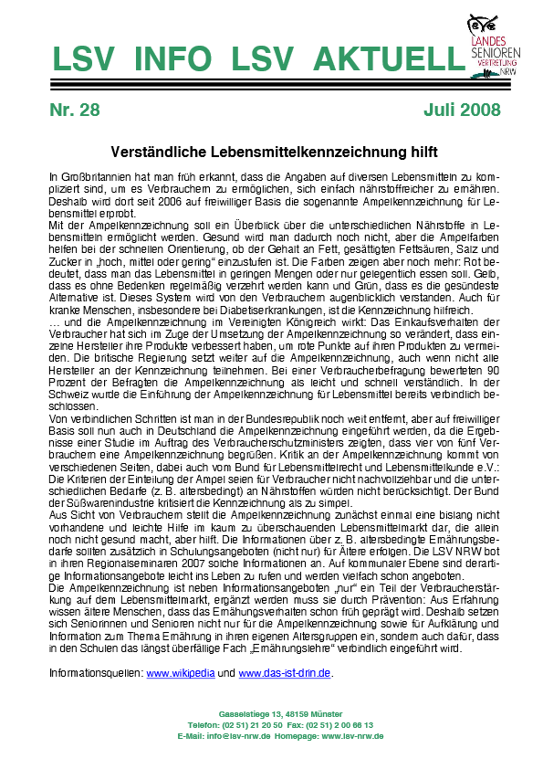 INFO LSV AKTUELL Nr  28 Lebensmittelkennzeichnung Pdf Image