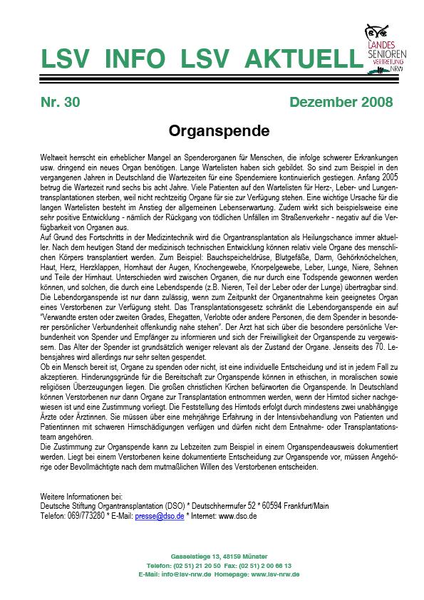 INFO LSV AKTUELL Nr  30 Organspende Pdf Image