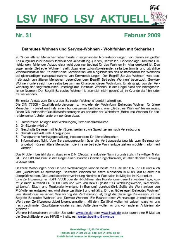 INFO LSV AKTUELL Nr  31 Betreutes Wohnen Pdf Image