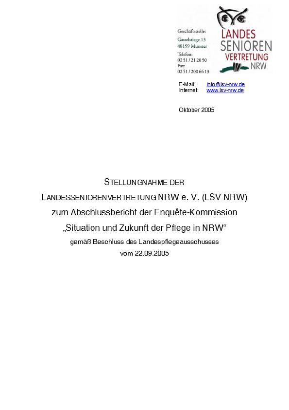 Stellungnahme Abschlussbericht Zukunft Pflege2005 Pdf Image
