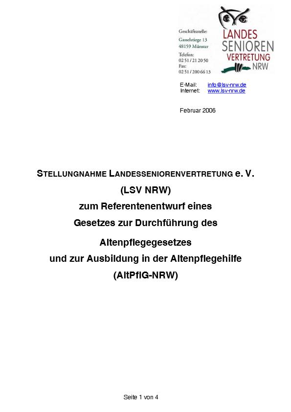 Stellungnahme Altenpflegegesetz 2006 Pdf Image