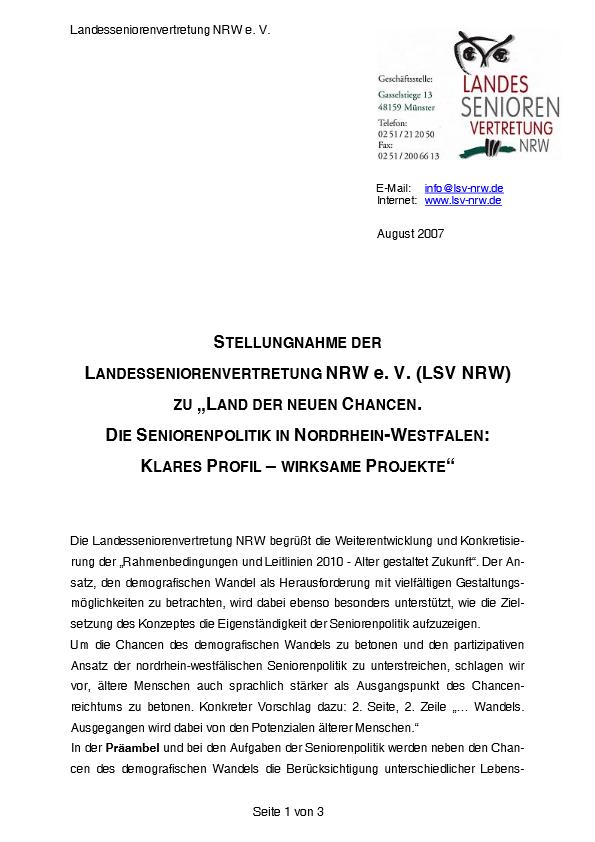Stellungnahme Land Der Neuen Chancen 2007 Pdf Image