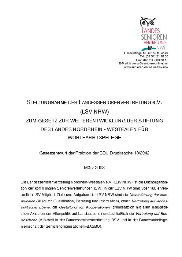 Stellungnahme Stiftung Wohlfahrtspflege 2003 Pdf Image