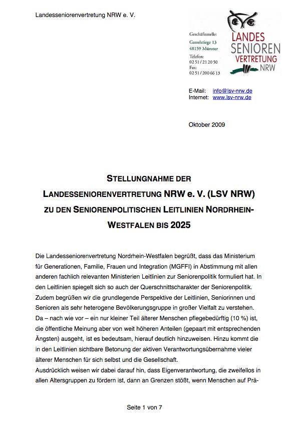 2009 Stellungnahme Seniorenpolitische Leitlinien Pdf Image